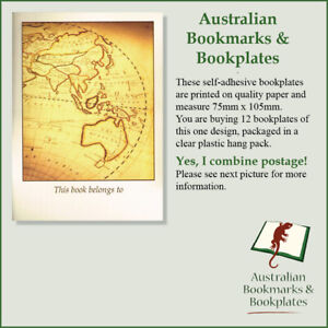 """Australian Map"" bookplates, self-adhesive (12)"