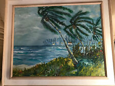 """Huge """"Windy Tropical Beach Scene"""" Oil On Canvas Painting - Signed And Framed"""