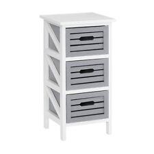 Vermont Unit, 3 Grey Drawers Chest, White Wash Paulownia Wood Frame