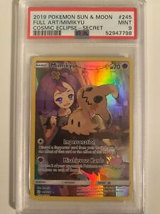 Pokemon Sun & Moon Cosmic Eclipse Full Art Mimikyu PSA 9