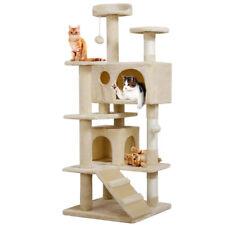 "Cat Tree Furniture Kitten House Play Tower Scratcher 51.2"" Beige Condo Post Bed"