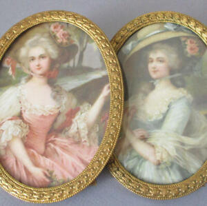 "Pr Antique Oval 6"" GILT Brass Frames w Easels Portraits French LADIES w BONNETS"