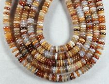 """NATURAL CARNELIAN AGATE 2.5x8MM TIRE RONDELLE BEADS 16"""" STRAND  BROWN ORANGE"""