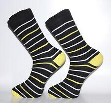 Haute qualité en noir, blanc et jaune à Rayures Chaussettes