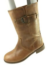 SH10 J Crew Women 6.5 Billie Short Buckle Brown Leather Boots 49505