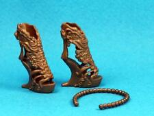 Barbie Bronze Wedge Heel Textured Sandal Shoes Bead Look Headband REGULAR PETITE