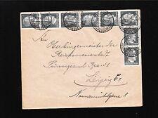 Germany 1942 Hitler Head Definitive 1p Strip 6 & Vertical Pair Leipzig Cover 6y