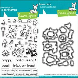 """Lawn Fawn """"Fox Costumes Before N' Afters"""" Stamps Only OR Stamp and Die Bundle"""