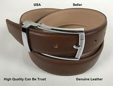 One Casual genuine Leather Mens Belt with Silver Buckle Waist shirts Gift #VB019