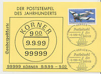 Jahrhundertstempel - 9.9.99--9  99999 KÖRNER [Sonderpostkarte] !!!
