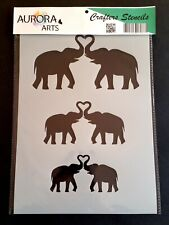 Stencil by Aurora Arts A4 Elephant love heart set 190mic Mylar craft stencil 081