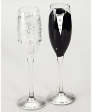 Hand Painted 8 oz. Bride and Groom Wedding Champagne Flute Glasses Set of 2