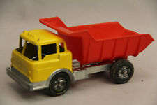 "VINTAGE HUBLEY 1490 METAL DUMP TRUCK RED YELLOW 7 3/4"" WORKS NICE TOY"