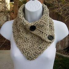NECK WARMER SCARF Oatmeal Beige Light Brown Crochet Knit Buttoned Cowl, Buttons