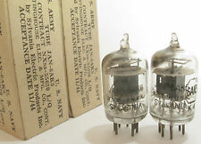 2 matched 1944 Sylvania JAN-6AK5 (5654,403B,6J1) tubes - Black Plate, [ ] Getter