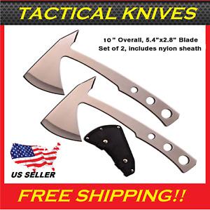 "SURVIVAL 10"" TOMAHAWK THROWING AXE (2 PACK) SET W/SHEATH HATCHET KNIFE HAWK"