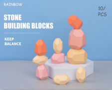 10Pcs Wooden Toys Colored Pile Up Stack Balancing Stone Building Blocks For Kids