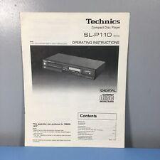Technics SL-P110 Manual Operating Instructions Guide Handbook