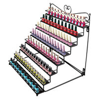 8 Tier Table Nail Polish Rack Stand Wall Mount Display Metal Hold to 120 Bottles