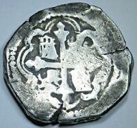1600's Spanish Mexico Silver 4 Reales Real Old Antique Pirate Colonial Cob Coin