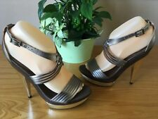 Faith pewter leather strappy peep toe platform sandals UK 5 EU 38 NEW RRP £60