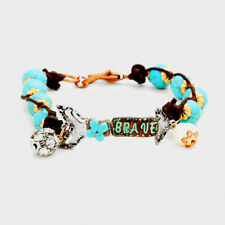 """Brave"" Turquoise Beaded Metal Arrow Diamante & Pearl Charm Bracelet"