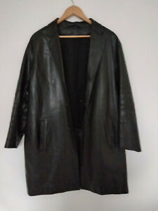 PRADA Milano Black Leather Coat - Wool Lined - Made in Italy - Size 48