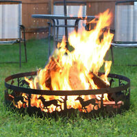 "Sunnydaze 36"" Wood-Burning Fire Ring Black Steel with Running Horse Design"