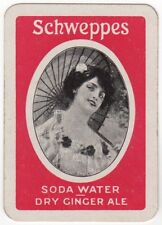 Playing Cards 1 Mini Swap Card - Antique SCHWEPPES Soda Water + Ginger Ale Lady