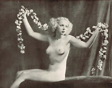 1930's Vintage Alfred Cheney Johnston Female Nude Flower Art Deco Photo Print