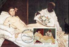 0908 monaco,maxicard maximum 2012 painting edouard manet,olympia,naked woman