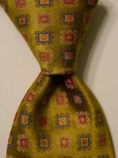 CARROT & GIBBS Men's 100% Silk Necktie USA Luxury Geometric Green/MultiColor EUC