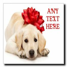 Dog With Xmas Bow Christmas Personalised Drinks Mat Coaster