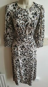 New Stunning Oasis Size S 10 - 12 Leopard Animal Midax Dress With Front Slit