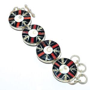 "Chakra Shell Gemstone 925 Sterling Silver Ethnic Bracelet 7-7.99"" T8611"