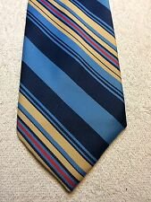 Vintage Lanvin Mens Tie 4 X 55 Blue With Yellow And Red Stripes