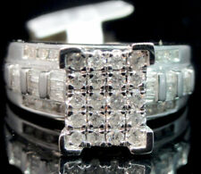 Ladies 10K White Gold Genuine Diamond Baguette Cinderella Engagement Ring .90ct