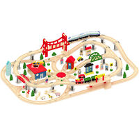 Wooden 130 Pcs Busy City & Train Set Railway Track Toy Brio Bigjigs Compatible