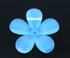 10 x BLUE PETAL SPRING FLOWER BEADS + 30mm - UK SELLER - SAME DAY FREE  POST