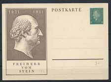 GERMANY 1931 SG428 Pres Ebert Freiherr Vom Stein Unused Postal Stationery Card
