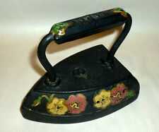 Antique WAPAK 8 lb Sad Cast Iron Black Door Stop w Hand Painted Flowers