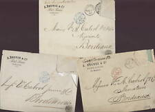 MAURITIUS 1879-82 PRINTED COVERS x3 to FRANCE no stamps