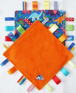 DINOSAUR TAGGY BLANKET Comforter  Bright & Colourful Gift   CAN BE PERSONALISED!
