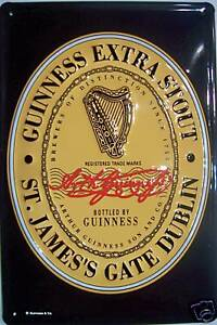 Guinness Logo Blechschild Schild 3D geprägt gewölbt Metal Tin Sign 20 x 30 cm