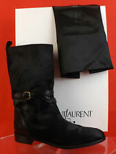 NIB YSL YVES SAINT LAURENT BLACK CHYC PONY HAIR BUCKLE BIKER FLAT BOOTS 40 9