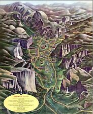1955 pictorial map POSTER Yosemite Valley National Park California 11523