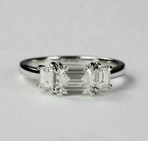 1.80CT East West Emerald Cut Moissanite Three Stone Promise Ring 10k White Gold