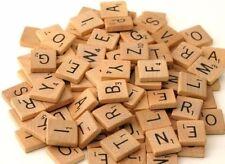 100 X Wooden Scrabble Tiles / Letters Wooden Black Letters Board Crafts Alphabet