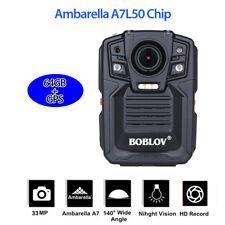 "2.0""LCD 1296P HD Record 64GB Body Worn GPS Camera Night Vision 140° Wide Angle"