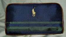 Ralph Lauren Polo Cosmetic ~Travel Case Bag with Logo Navy & Green Canvas Mans
